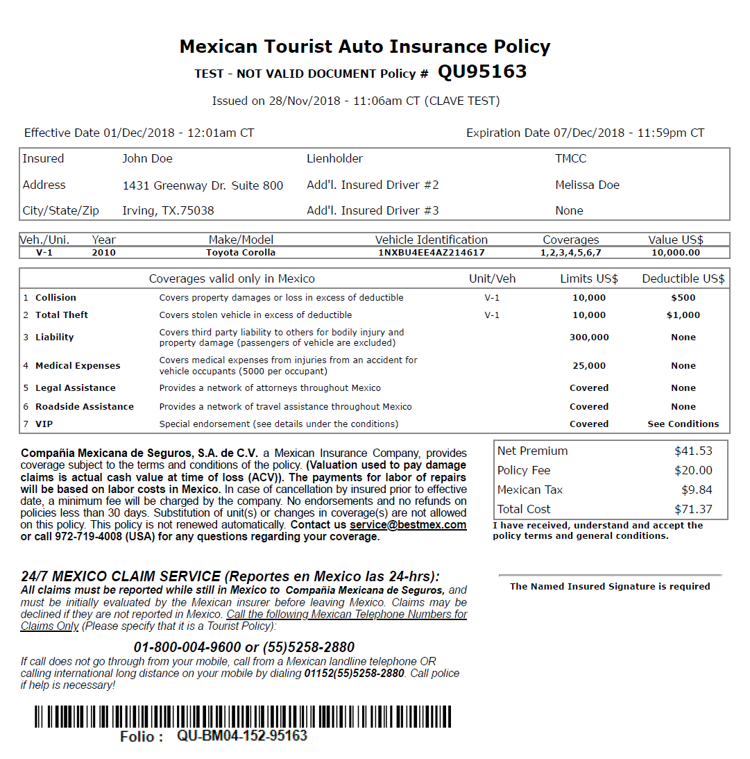 Sample Mexican Car Insurance Policy