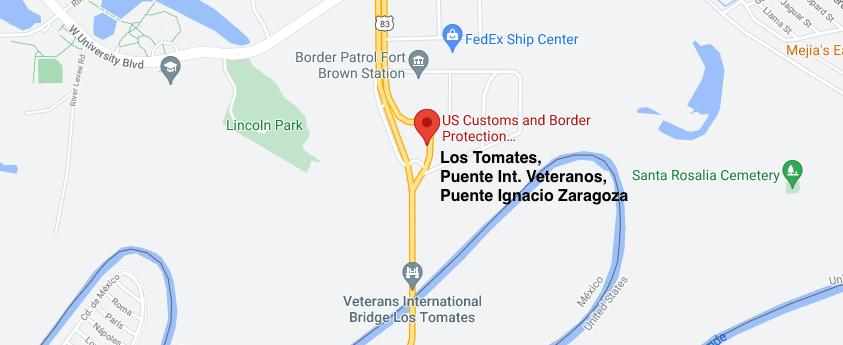 Cruce Fronterizo Los Tomates, Puente Internacional Veteranos, Puente Ignacio Zaragoza